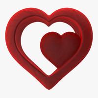 3d model heart valvet red