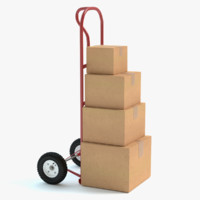 hand truck boxes 3d model
