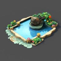 cartoon fountain 3d obj