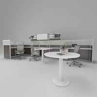 3d model office working
