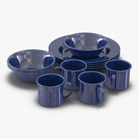 camping dishes set 3d model