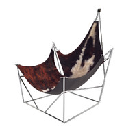 Sculptural Lounge Chair with Cowskin Seat, France, 1960