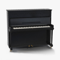 upright piano black 3d max