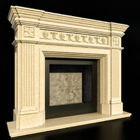 3d classic fireplace model