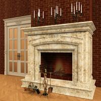 3d classic fireplace door