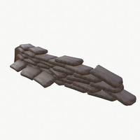 3d sandbags barricade model