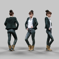 3d office girl posing leather pants model