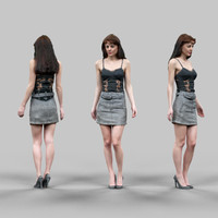 fbx girl grey skirt sexy