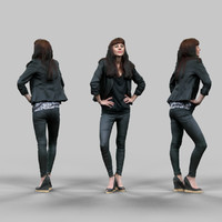 fashion girl black outfit 3d obj
