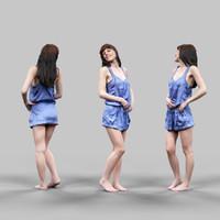 3d girl blue shiny dress model