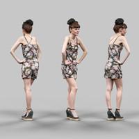 3d model fashion girl flower pattern
