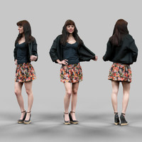 girl skirt holding jacket 3d model