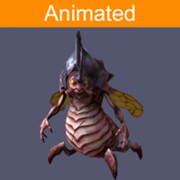character flying insect rhinoceros 3d model