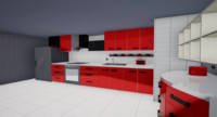 3d model of red kitchen