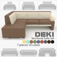 couch set sections deki 3d model