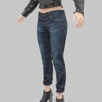 jeans blue trousers 3d model