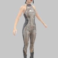 catsuit latex grey 3d obj