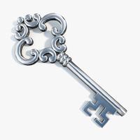 3d realistic silver key model