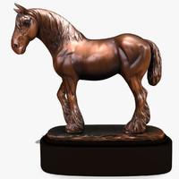 3ds horse statuette