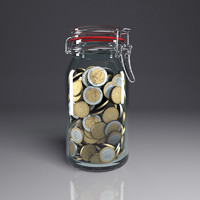 money jar 3d obj