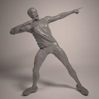 athlete usain bolt print 3d model