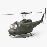 3d model of bell uh-1d huey helicopter
