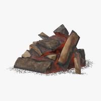 wood coals 01 obj