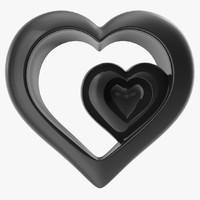 3d model heart black v4