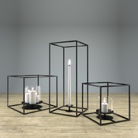 3d model cube candle holder set