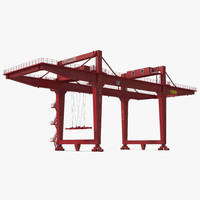 Rail Mounted Gantry Container Crane Rigged Red