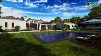 Architectural Exterior Rendering Bungalow with Garden view