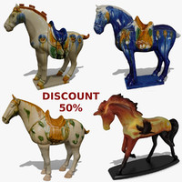 horse statuettes 6 3d model