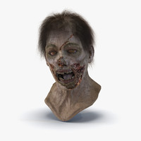 zombie head hair rigged 3d model