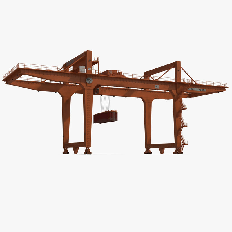 3d model of Rail Mounted Gantry Container Crane Orange and 40 ft ISO Container 00.jpg