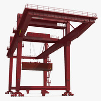 Rail Mounted Gantry Container Crane Red and 40 ft ISO Container