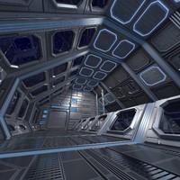 sci-fi interior scene obj