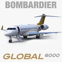 business jet bombardier global 3d model
