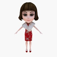 3d new year girl model