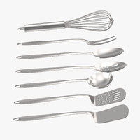 3d model metal cooking utensil set