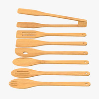 wooden cooking utensil set 3d model