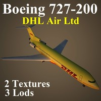 boeing 727-200 dhl 3d max