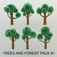 3d cartoon trees forest pack
