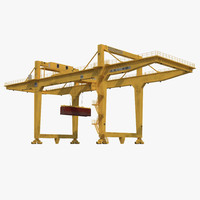 Rail Mounted Gantry Container Crane Yellow and 40 ft ISO Container