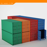 3d container 20 40 model