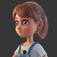 3d model of cartoon girl rigged