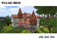 3d model of city mansion - willage
