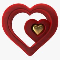 3d heart valvet red v5 model