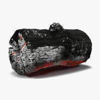 3d charred log 2