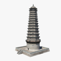 3d chinese famen temple model