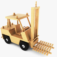 3d model wooden toy forklift wood